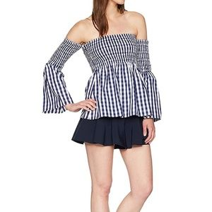 Milly navy/white smocked top size S NWT
